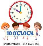 ten o'clock with children ... | Shutterstock .eps vector #1151623451