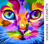 Stock vector cat face close to colorful eyes 1151648774