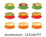 soups in bowls  vector icons. | Shutterstock .eps vector #115166797