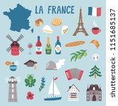 vector icon set of france's... | Shutterstock .eps vector #1151685137