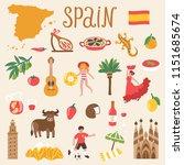vector icon set of spain's... | Shutterstock .eps vector #1151685674