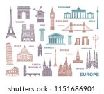 collection of europe detailed... | Shutterstock .eps vector #1151686901
