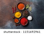 colorful spices on stone table. ... | Shutterstock . vector #1151692961