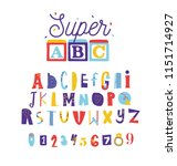 positive and funny alphabet for ... | Shutterstock .eps vector #1151714927