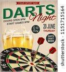 darts night retro poster.   Shutterstock .eps vector #1151715164