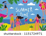 summertime  holidays poster and ... | Shutterstock .eps vector #1151724971