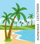 a beautiful beach landscape...   Shutterstock .eps vector #1151734004