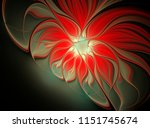 fractal red flower on a black... | Shutterstock . vector #1151745674