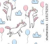 cute unicorns seamless pattern... | Shutterstock .eps vector #1151752517