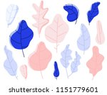 set tree and plants  leves... | Shutterstock .eps vector #1151779601