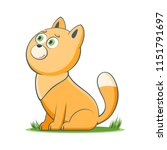 a happy cartoon cat. comic farm ... | Shutterstock .eps vector #1151791697