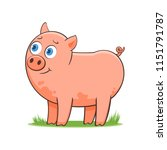 a happy cartoon pig. comic farm ... | Shutterstock .eps vector #1151791787
