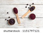 flat lay composition with acai... | Shutterstock . vector #1151797121