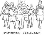 a group of students are walking ... | Shutterstock .eps vector #1151825324