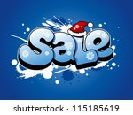 Christmas sale vector illustration with snow splashes. - stock vector
