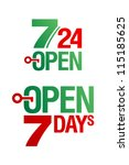 7 Days Open symbols set - stock vector