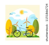 set of bicycle in the nature...   Shutterstock .eps vector #1151866724