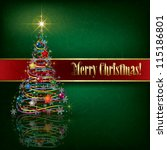 greeting with christmas tree on ... | Shutterstock .eps vector #115186801