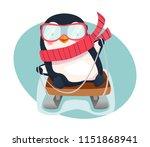 penguin on sled. penguin... | Shutterstock .eps vector #1151868941