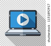 laptop icon with play button on ... | Shutterstock .eps vector #1151892917