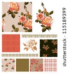 floral rose seamless patterns... | Shutterstock .eps vector #115189399