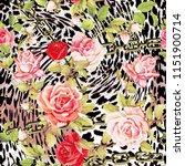 leopard and rose print black... | Shutterstock . vector #1151900714