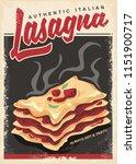 lasagna retro promo poster... | Shutterstock .eps vector #1151900717
