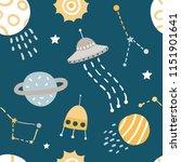 cute kids space vector seamless ... | Shutterstock .eps vector #1151901641