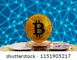 bitcoin btc on stack of... | Shutterstock . vector #1151905217