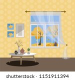 window with a view of yellow... | Shutterstock .eps vector #1151911394