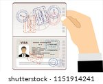 visa stamp passport. men hold... | Shutterstock .eps vector #1151914241