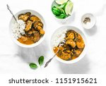 roasted aubergine curry with... | Shutterstock . vector #1151915621