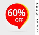 60  off discount sticker symbol.... | Shutterstock . vector #1151926724