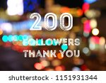 Small photo of 200 followers - social media milestone banner. Online community thank you note. 200 likes.