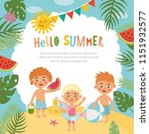 hello summer  amazing childish... | Shutterstock .eps vector #1151932577