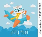 little pilot. beautiful... | Shutterstock .eps vector #1151932607