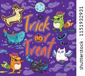 trick or treat. fantasy print... | Shutterstock .eps vector #1151932931