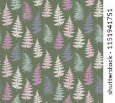 fern frond herbs  tropical... | Shutterstock .eps vector #1151941751