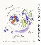 september calendar with ink... | Shutterstock .eps vector #1151944781
