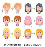 set of woman faces with a... | Shutterstock .eps vector #1151945207