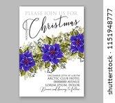 winter flower blue poinsettia... | Shutterstock .eps vector #1151948777