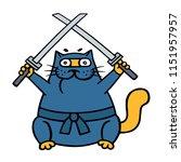 fat ninja cat with two crossed... | Shutterstock .eps vector #1151957957