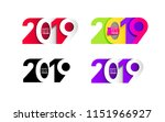 happy new year. set of 2019... | Shutterstock .eps vector #1151966927