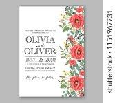 floral wedding invitation... | Shutterstock .eps vector #1151967731