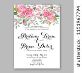 floral wedding invitation... | Shutterstock .eps vector #1151967794