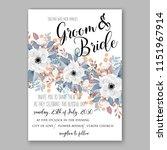 floral wedding invitation... | Shutterstock .eps vector #1151967914