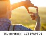 human hands making a frame sign ... | Shutterstock . vector #1151969501