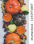 pumpkin juice  autumn harvest... | Shutterstock . vector #1151971847