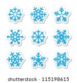 christmas snowflakes icons set | Shutterstock .eps vector #115198615