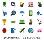 colored vector icon set   plane ... | Shutterstock .eps vector #1151989781